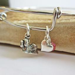 "Shih Tzu Mini Heart Stackable Bangle Bracelet (2.5""-3"")"
