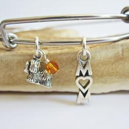 "Shih Tzu Mom Stackable Bangle Bracelet (2.5""-3"")"