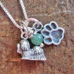 Shih Tzu Mini Paw Print Sterling Silver Necklace