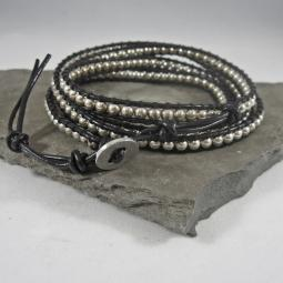 Silver and Black Leather Wrap Bracelet