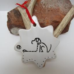 Sit and Stay Dog Ceramic Christmas Ornament