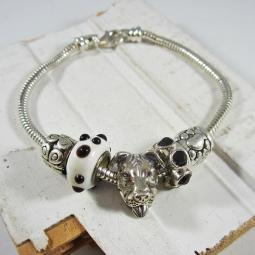 One-of-a-Kind Pit Bull Silver, Black, White Bead Bracelet