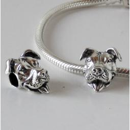 Snake Chain Bracelet with Smiling Pit Bull Charm (Sterling Silve
