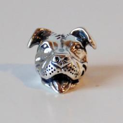 Smiling Pit Bull European Style Sterling Silver Charm (for brace