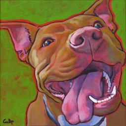 Smiling Red Nose Lucy Pit Bull Print