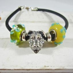 One-of-a-Kind Pit Bull and Yellow and Blue Glass Bead Bracelet