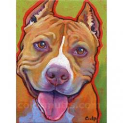 Smiling Red Nose Pit Bull Print