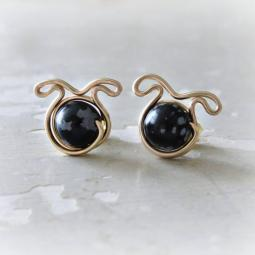Snowflake Obsidian Dog Post Earrings - Gold Filled
