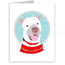 Pit Bull Happy Christmas Snow Globe Note Cards (#4)