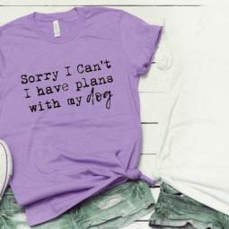 Sorry I Can't I Have Plans with My Dog T-Shirt Heather Purple