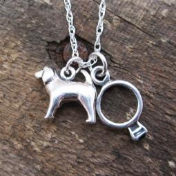 Spaniel Engagement Ring Large Sterling Silver Necklace