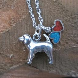Spaniel Large Double Heart Sterling Silver Necklace