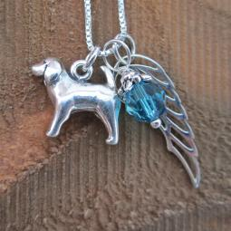 Spaniel Large Angel Wing Sterling Silver Necklace