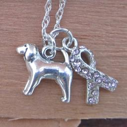 Spaniel Breast Cancer Awareness Ribbon Sterling Silver Necklace