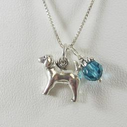 Spaniel Large Charm Sterling Silver Necklace