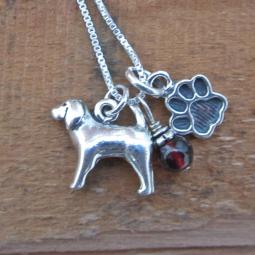 Spaniel Paw Print Sterling Silver Necklace (large)