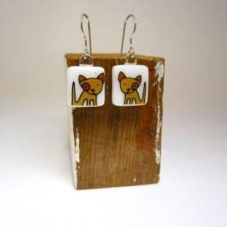 Spot Dog Glass Earrings