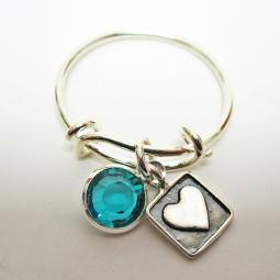 Squared Heart Adjustable Stackable Ring