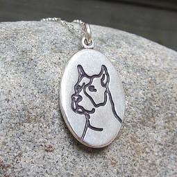 Etched Pit Bull Reversible Sterling Silver Necklace