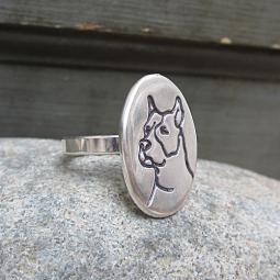 Sterling Silver Etched Pit Bull Ring