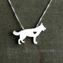 German Shepherd Itty Bitty Sterling Silver Necklace