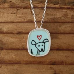 Happy Pibble Sterling Silver and Enamel Necklace