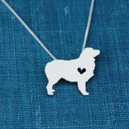 Australian Shepherd Itty Bitty Sterling Silver Necklace