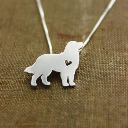 Bernese Mountain Dog Itty Bitty Sterling Silver Necklace