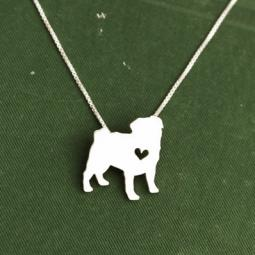 Pug Itty Bitty Sterling Silver Necklace