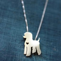 Standard Poodle Itty Bitty Sterling Silver Necklace