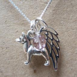 Akita Mini Angel Wing Sterling Silver Necklace