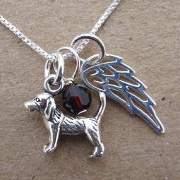 Beagle Mini Angel Wing Sterling Silver Necklace