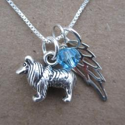Collie Mini Angel Wing Sterling Silver Necklace
