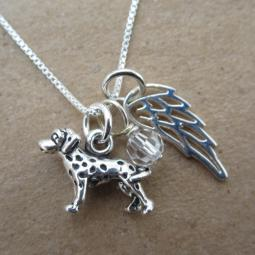 Dalmatian Mini Angel Wing Sterling Silver Necklace