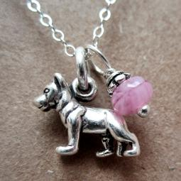 German Shepherd Glass Bead Sterling Silver Necklace