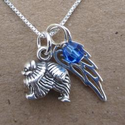 Pomeranian Mini Angel Wing Sterling Silver Necklace