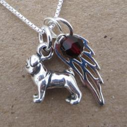 Pug Mini Angel Wing Sterling Silver Necklace