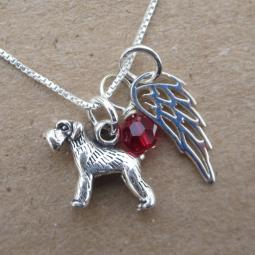 Schnauzer Mini Angel Wing Sterling Silver Necklace