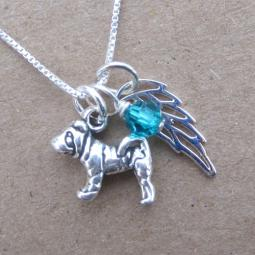 Shar-Pei Mini Angel Wing Sterling Silver Necklace