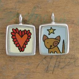 Spot Dog and Doily Heart Reversible Enamel Necklace