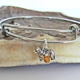 "Saint Bernard Mini Dangle Stackable Bangle Bracelet (2.5""-3"")"