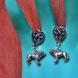 Saint Bernard Heart Sterling Silver Earrings