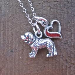 Saint Bernard In My Heart Mini Sterling Silver Necklace