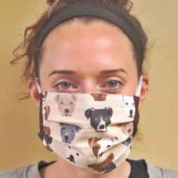 Tan Pit Bull Faces Pleated Face Mask