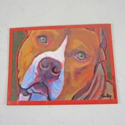 Tan with White Pit Bull Magnet by Lynn Culp