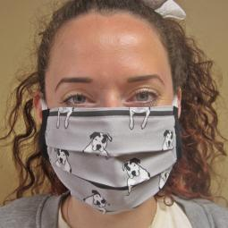 Grey T-Bone Pit Bull Pleated Face Mask