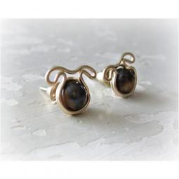 Tiger Eye Dog Post Earrings - Gold Filled