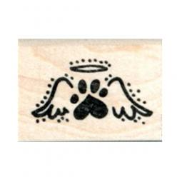 Tiny Paw Print Halo Angel Wing Rubber Stamp