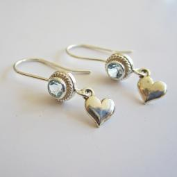 Topaz Mini Heart Sterling Silver Earrings