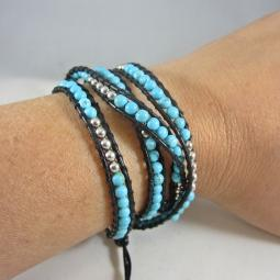 Turquoise and Silver Black Leather Wrap Bracelet
